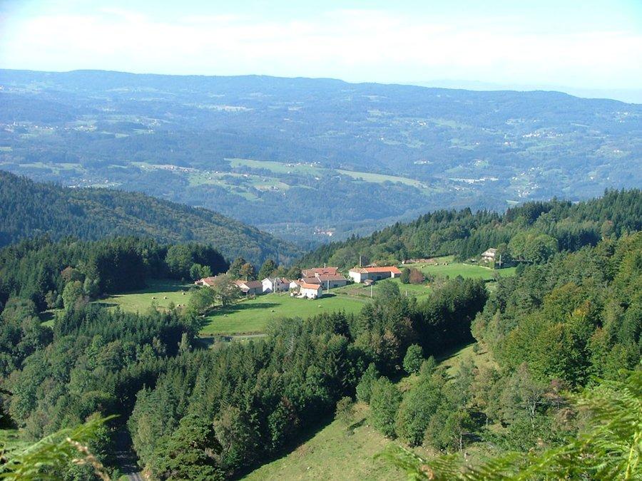 Parc régional du Livradois-Forez, Hameau accroché au-dessus de la vallée de Vertolaye depuis D255.